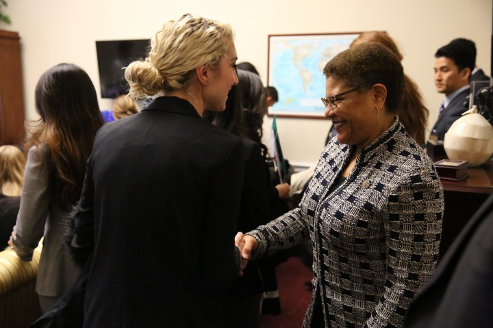 Students from USC were greeted by Congressmember Karen Bass, an alumni of the program, who spoke to them about the importance of their voice on Capitol Hill. Photo credit: Claire Norman