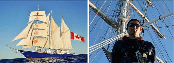 2 images -- ship and photo of Matt aboard