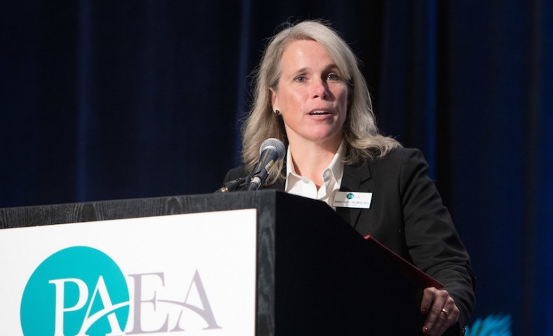 PAEA President Jennifer Snyder speaking at the Awards Lunch. Credit: Scott Morgan