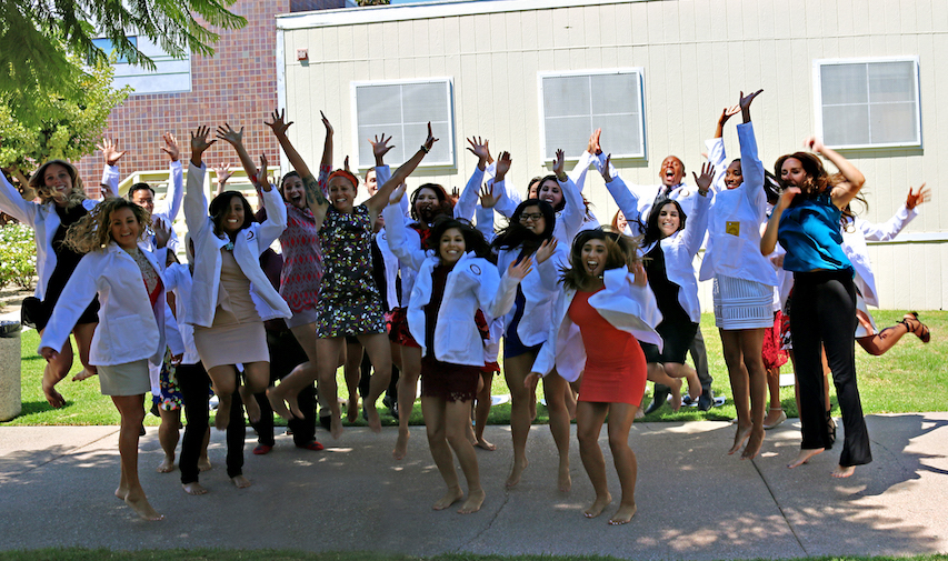 Charles R. Drew University Physician Assistant Program Inaugural Class of 2018 jumps for joy at the first annual short white coat ceremony celebration. Credit: CDU PA Program/Katayoun Moini