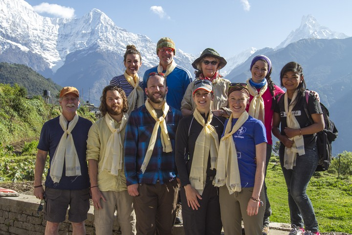 The group from Utah amidst the Himalaya Mountains. (Credit: Nick Pedersen)