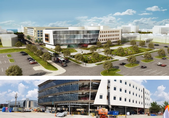 The new Academic and Health Science and Research Center in downtown Evansville is currently under construction (top is artist rendition, bottom is current construction). It will house the new program and is scheduled to open August, 2018. Image courtesy of Michael Roscoe/University of Evansville