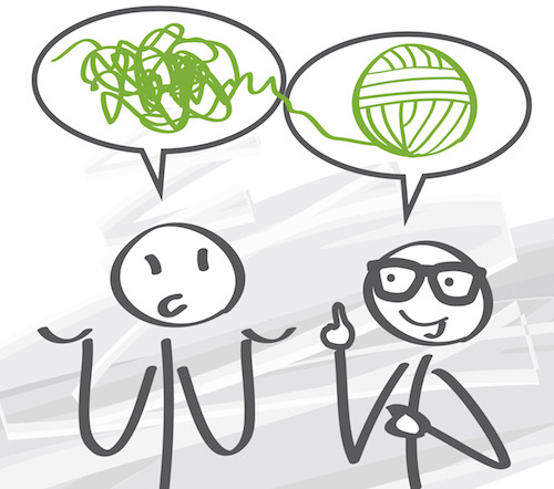 2 stick figures. 1 with a speech bubble full of scribbles. The other with his finger pointed up, indicating he has an idea, and a ball of yarn in his speech bubble
